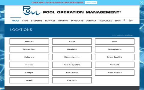 Screenshot of Locations Page pooloperationmanagement.com - Locations   Certified Pool Operators (CPO)   Pool Operation Management - captured July 20, 2018