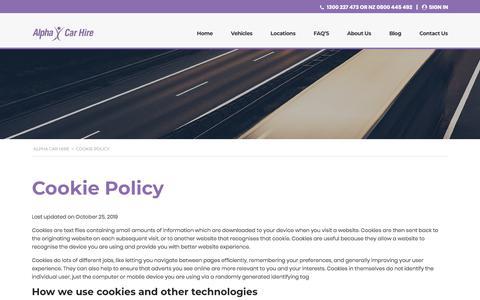 Screenshot of Privacy Page alphacarhire.com.au - Hire Car Cookie Policy | Alpha Car Hire - captured Dec. 14, 2019