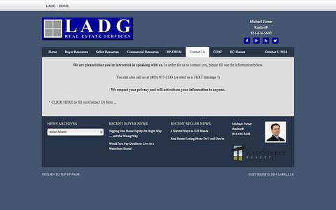 Screenshot of Contact Page ladg.com - Contact Us - LADG Real Estate Services - captured Oct. 1, 2014