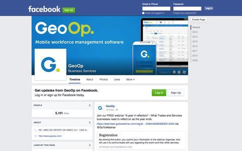 Screenshot of Facebook Page facebook.com - GeoOp - captured Nov. 10, 2015