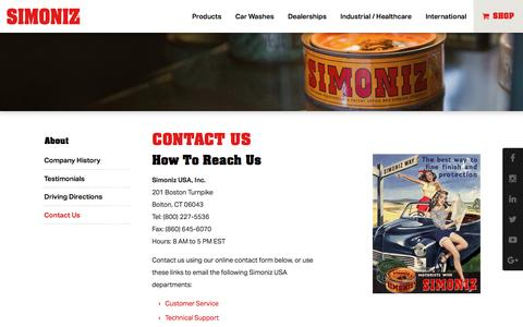 Screenshot of Contact Page Support Page simoniz.com - Contact Us | Simoniz - captured Jan. 24, 2017
