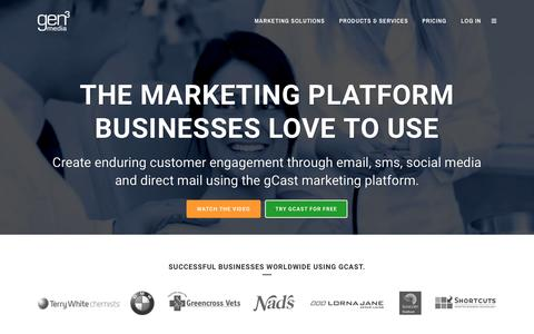 Screenshot of Home Page gen3media.com - Marketing Platform | gCast by Gen3Media - captured July 20, 2015