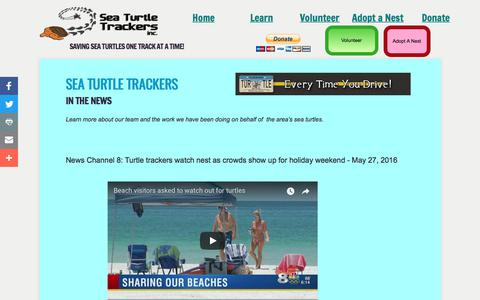 Screenshot of Press Page seaturtletrackers.org - Sea Turtle Trackers in the news - captured Oct. 19, 2017