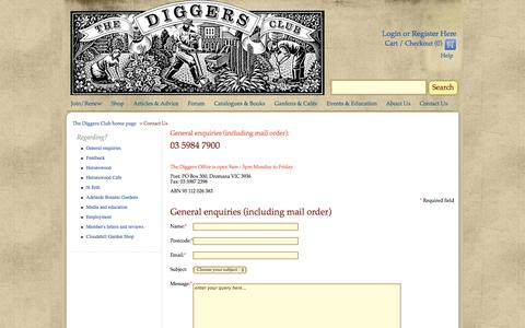 Screenshot of Contact Page diggers.com.au - Ask Us About Our Garden Supplies And Huge Range Of Plants Online - The Diggers Club - captured Nov. 4, 2014