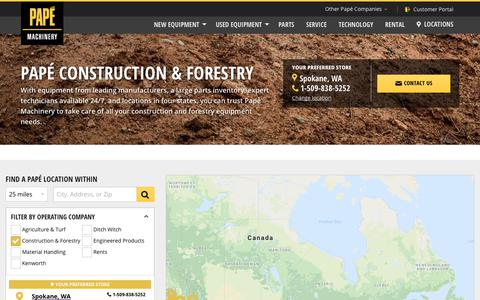 Screenshot of Contact Page Locations Page papemachinery.com - Dealership Locations | Papé Machinery Construction & Forestry - captured July 1, 2018