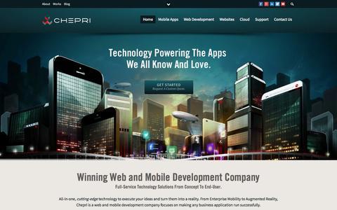 Screenshot of Home Page chepri.com - Web and Mobile Development Company. Web Design to Mobile Apps. - captured Sept. 23, 2014