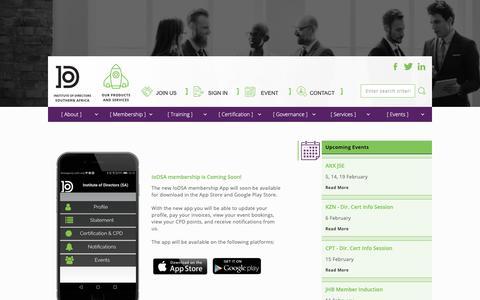 Screenshot of Menu Page iodsa.co.za - Advanced Menu - Institute of Directors in Southern Africa (IoDSA) - captured Oct. 12, 2018