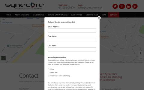 Screenshot of Contact Page synecore.co.uk - Contact the M&E Contractor Synecore in Detling, Kent - captured Oct. 18, 2018