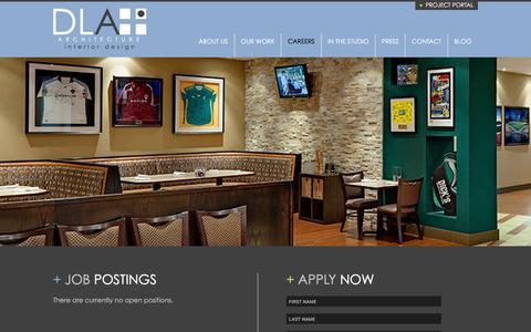 Screenshot of Jobs Page dlaplus.com - Careers   DLA+ Architecture & Interior Design - captured Jan. 31, 2016