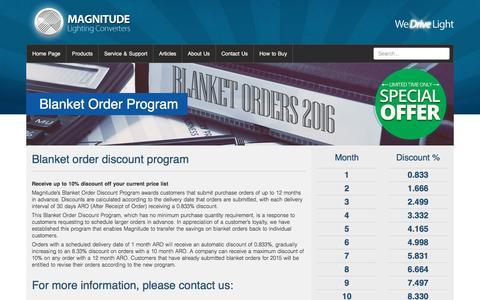 Screenshot of Trial Page magnitudeinc.com - Blanket Order Program - Magnitude Lighting Converters - captured Nov. 9, 2016