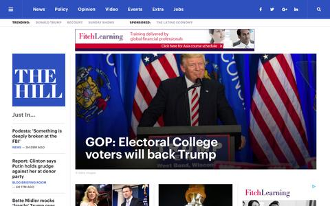 Screenshot of Home Page thehill.com - The Hill - covering Congress, Politics, Political Campaigns and Capitol Hill - captured Dec. 16, 2016