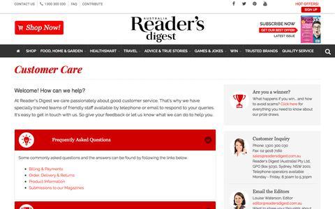 Screenshot of FAQ Page readersdigest.com.au - Customer Care | Reader's Digest - captured Sept. 22, 2018
