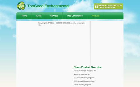 Screenshot of Products Page tgenviro.co.nz - TooGood Environmental  - Products - captured Oct. 7, 2014