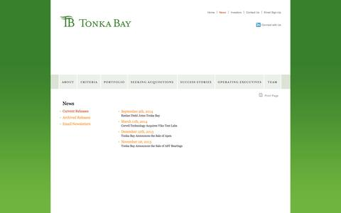 Screenshot of Press Page tonkabayequity.com - News » Current News Releases » tonkabayequity.com - captured Oct. 7, 2014
