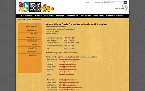 Screenshot of Contact Page omahazoo.com - Contact Us   Omaha's Henry Doorly Zoo   Visit Omaha   Entertainment in Omaha - captured Sept. 19, 2014