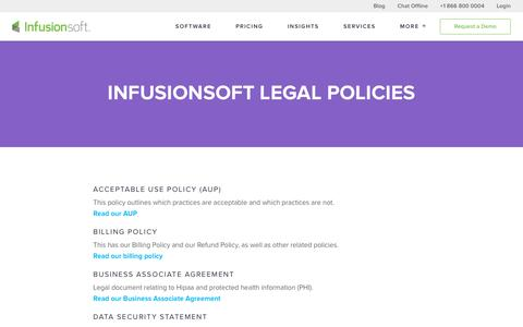 Screenshot of Terms Page infusionsoft.com - Infusionsoft Legal Policies - captured April 20, 2016