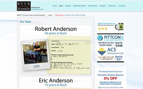 Screenshot of Team Page bucksci.com - Our Team - captured Feb. 8, 2016