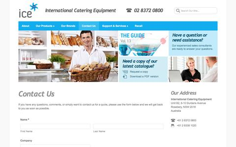 Screenshot of Contact Page internationalcatering.com.au - Contact Us - International Catering Equipment - captured July 7, 2017