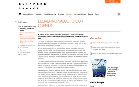 Clifford Chance | Delivering value to our clients