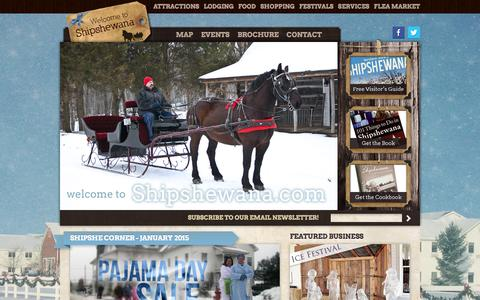 Screenshot of Home Page shipshewana.com - Official Shipshewana Website - Info for Shipshewana Events, Shops, Restaurants, Attractions and more | Shipshewana Amish Country - captured Jan. 30, 2015
