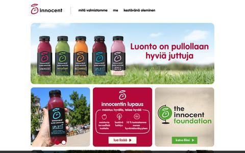 Screenshot of Home Page innocentdrinks.fi - innocent smoothies - hedelmiä, hedelmiä ja vain ja ainoastaan hedelmia - captured Oct. 22, 2018