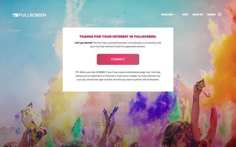 Screenshot of Signup Page fullscreen.com - Apply | Fullscreen - captured Sept. 11, 2014