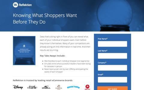 Screenshot of Landing Page reflektion.com - Knowing What Your Shopper Want Before They Do - captured Oct. 20, 2016