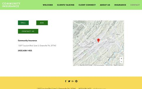 Screenshot of Contact Page greatci.com - Contact — Community Insurance - captured Sept. 29, 2018
