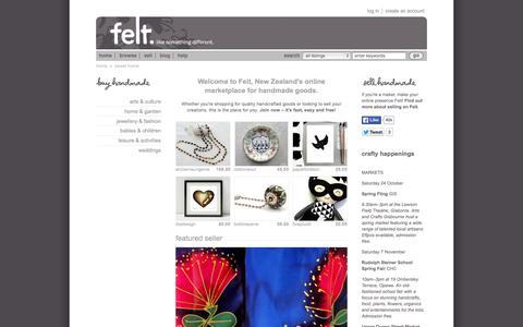 Screenshot of Home Page felt.co.nz - New Zealand's online marketplace for handmade goods | Felt - captured Oct. 1, 2015