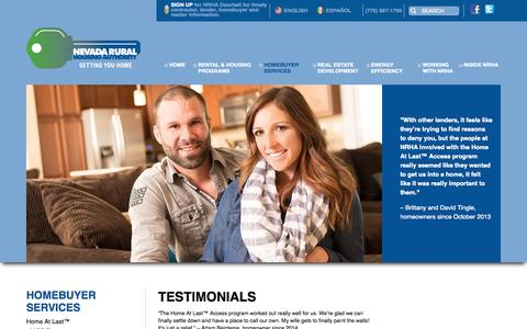 Screenshot of Testimonials Page nvrural.org - Testimonials | Nevada Rural Housing Authority - captured Oct. 26, 2014