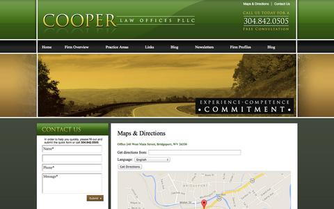 Screenshot of Maps & Directions Page cooperlawwv.com - Find a Law Firm for Personal Injury, Insurance and Business Law - Cooper Law Offices, PLLC, Bridgeport, WV - captured Oct. 3, 2014