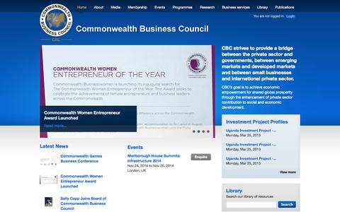 Screenshot of Home Page cbcglobal.org - Commonwealth Business Council - captured Oct. 8, 2014
