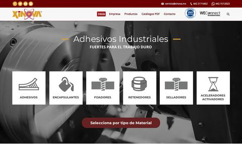 Screenshot of Home Page xinova.mx - Adhesivos y Selladores Industriales Xinova - captured Sept. 21, 2018