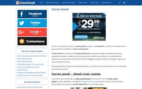 Screenshot of Home Page creargmail.org - Correo Gmail - Crear gmail - Iniciar sesión gmail - captured June 5, 2016