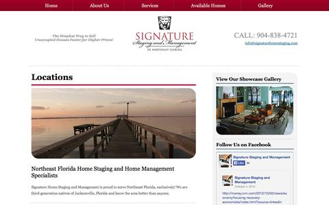 Screenshot of Locations Page signaturehomestaging.com - Signature Home Staging and Home Management, Jax, FL / Service areas - captured Oct. 26, 2014