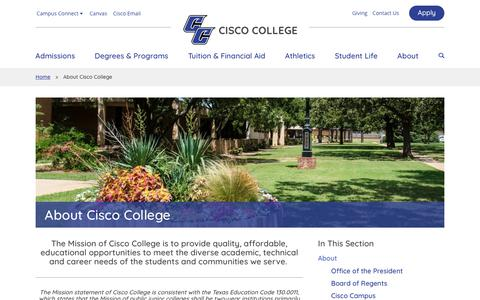Screenshot of About Page cisco.edu - About Cisco College  | Cisco College - captured Sept. 28, 2018