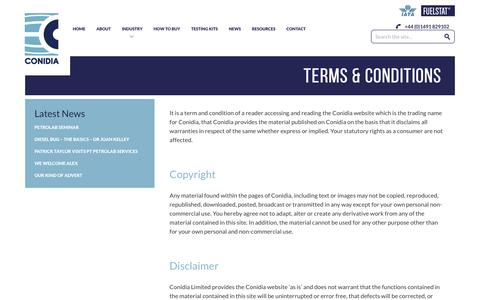 Screenshot of Terms Page conidia.com - Terms & Conditions - Innovative Microbial Fuel Testing - captured Aug. 21, 2017