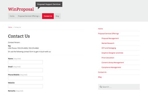 Screenshot of Contact Page proposalsupportservices.com - Contact Us | WinProposal - captured Sept. 30, 2014