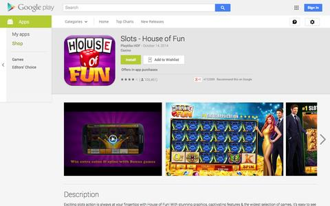 Screenshot of Android App Page google.com - Slots - House of Fun - Android Apps on Google Play - captured Oct. 22, 2014