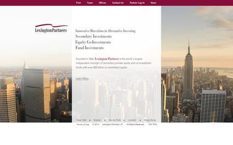 Screenshot of Home Page lexingtonpartners.com - Lexington Partners: - captured Sept. 29, 2014