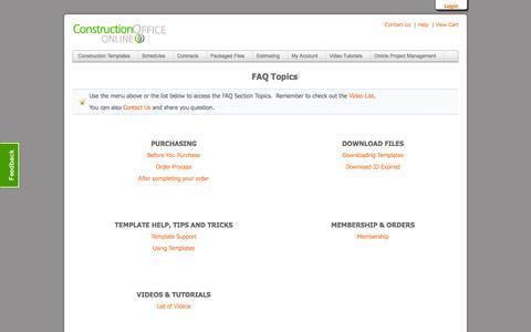 Screenshot of FAQ Page constructionofficeonline.com - FAQ & Support Category List ::: Construction Office Online - captured Sept. 30, 2014
