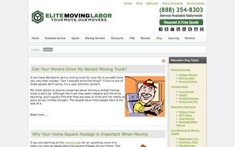 Screenshot of Blog elitemovinglabor.com - Helpful Guides for Moving Help & Local Moving Labor - Elite Moving Labor - captured Sept. 19, 2014