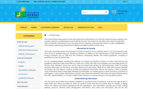 Screenshot of Privacy Page tlji.com - Privacy Policy - The Learning Journey - captured Sept. 24, 2018