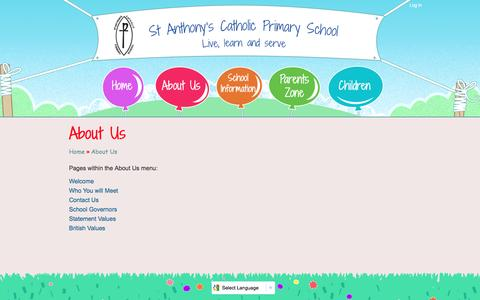Screenshot of About Page st-anthonys.hull.sch.uk - About Us | St Anthony's Catholic Primary School Hull - captured May 23, 2016