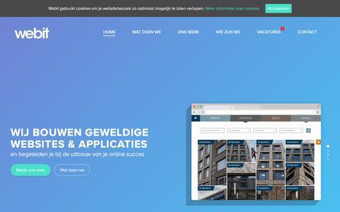 Screenshot of Home Page webit.be - Webdesign Webit - geweldige websites en applicaties - captured Nov. 11, 2018