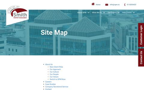 Screenshot of Site Map Page spm.ie - Site Map   Smith Property Management   Dublin   Ireland - captured Oct. 25, 2017