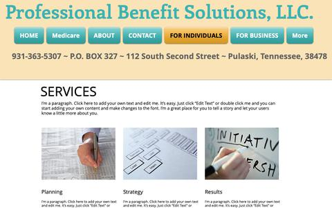 Screenshot of Services Page pbsllcinsurance.com - Professional Benefit Solutions| Health Insurance| Middle TN | FOR INDIVIDUALS - captured Sept. 30, 2018