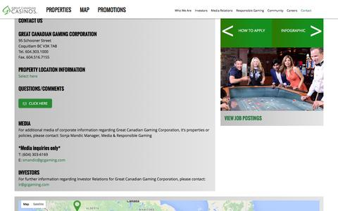 Screenshot of Contact Page gcgaming.com - Contact - Great Canadian Gaming Corporation - captured Feb. 1, 2016