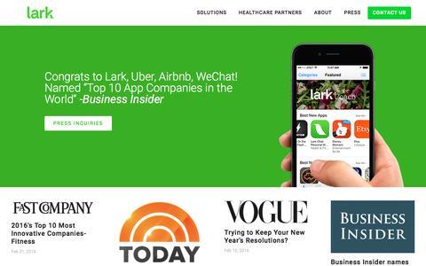 Screenshot of Press Page lark.com - Lark - Press - captured March 28, 2016