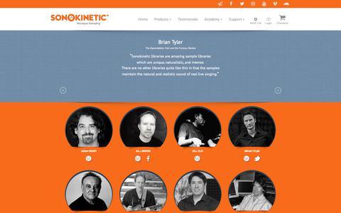 Screenshot of Testimonials Page sonokinetic.net - Testimonials - Sonokinetic - Sample libraries and Virtual Instruments - captured Sept. 27, 2018
